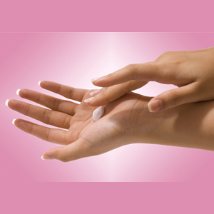 Image of hand with lotion in palm